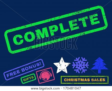 Complete text rubber seal stamp watermark with bonus new year symbols. Caption inside rectangular banner with grunge design and unclean texture.