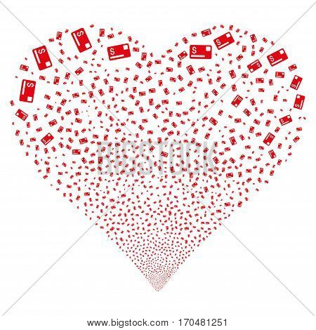 Credit Card fireworks with heart shape. Vector illustration style is flat red iconic symbols on a white background. Object salute created from random design elements.