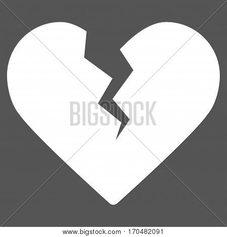 Divorce Heart vector icon symbol. Flat pictogram designed with white and isolated on a gray background.