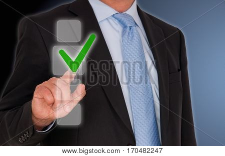 Businessman with checkbox and copy space for individual text