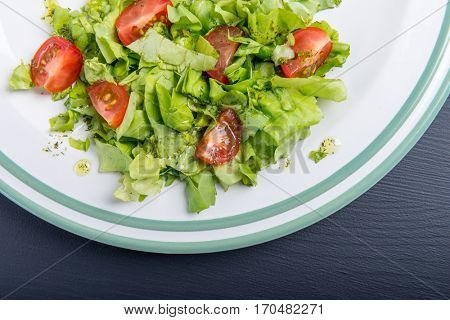 Fresh salad- lettuce with cherry tomatoes