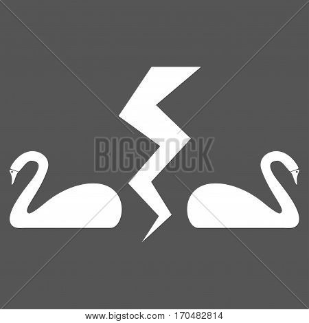 Divorce Swans vector icon symbol. Flat pictogram designed with white and isolated on a gray background.