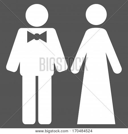Just Married Persons vector icon symbol. Flat pictogram designed with white and isolated on a gray background.