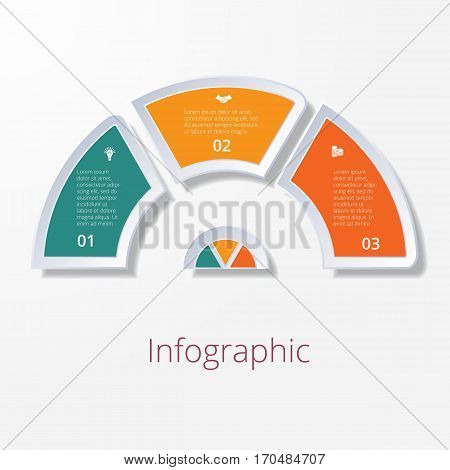 Template infographic semicircle diagram with three multicolored elements around center. Business strategy.