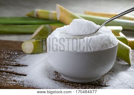 Granulated Sugar In Silver Spoon Empty Ready For Your Product Display Or Montage.