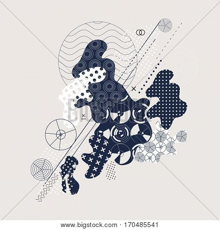 Abstract background. Current composition of the fluid forms and geometric shapes. Trendy design for business, technology and advertising. Modern vector illustration.