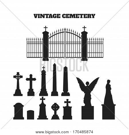 Black silhouettes of tombstones, crosses and gravestones. Elements of cemetery. Vector illustration poster