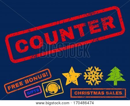 Counter text rubber seal stamp watermark with bonus new year symbols. Tag inside rectangular banner with grunge design and scratched texture.