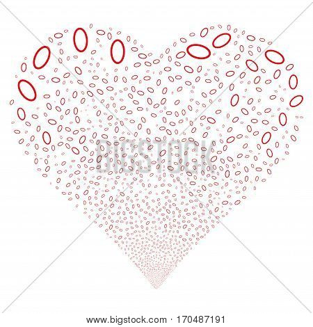 Ellipse Bubble fireworks with heart shape. Vector illustration style is flat red iconic symbols on a white background. Object heart constructed from random icons.