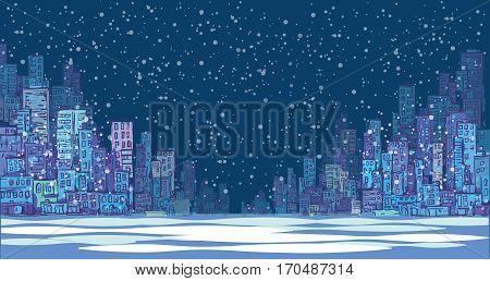 Night City Winter Background. Hand Drawn Vector