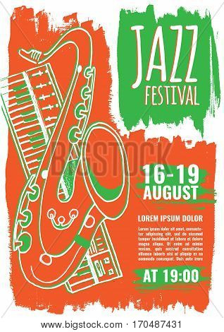 Jazz music festival, poster background template. Keyboard with saxophone. Flyer Vector design.