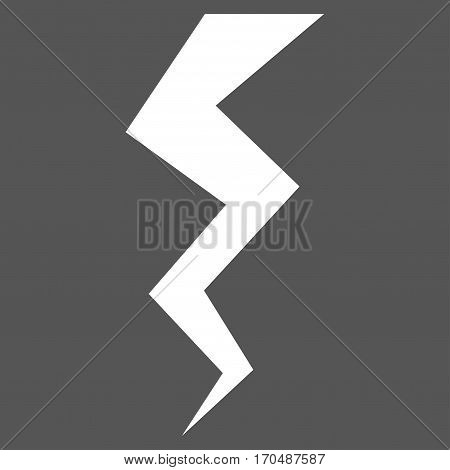 Thunder Crack vector icon symbol. Flat pictogram designed with white and isolated on a gray background.