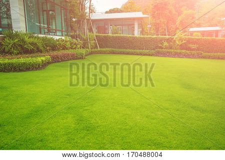 The morning sun shining on modern house with beautiful landscaped front yard,Lawn and garden