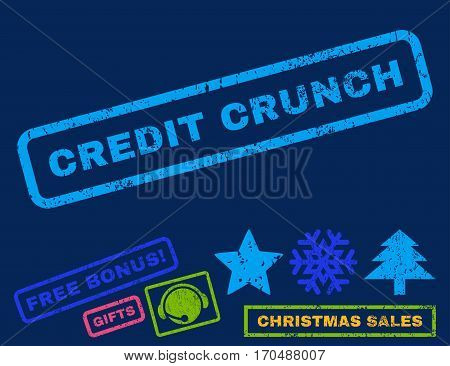 Credit Crunch text rubber seal stamp watermark with additional bonus new year symbols. Tag inside rectangular shape with grunge design and dust texture.