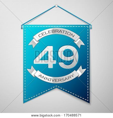 Blue pennant with inscription Forty nine Years Anniversary Celebration Design over a grey background. Silver ribbon. Colorful template elements for your birthday party. Vector illustration