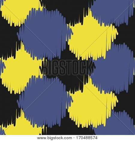 Ikat bold dots vector seamless pattern. Abstract geometric background for fabric, print or wrapping paper. Indigo blue, black and yellow design.
