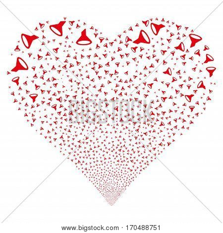 Filter fireworks with heart shape. Vector illustration style is flat red iconic symbols on a white background. Object valentine heart constructed from random symbols.