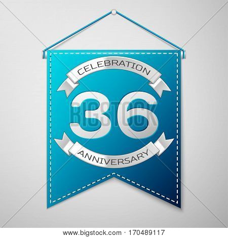 Blue pennant with inscription Thirty six Years Anniversary Celebration Design over a grey background. Silver ribbon. Colorful template elements for your birthday party. Vector illustration