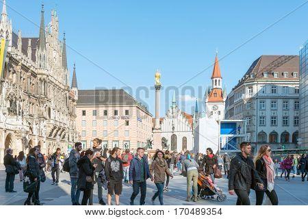 MUNICH, GERMANY-April 29,2016: Street view of Tourists on foot Street in Downtown Munich on April 29,2016, in Munich, Germany.