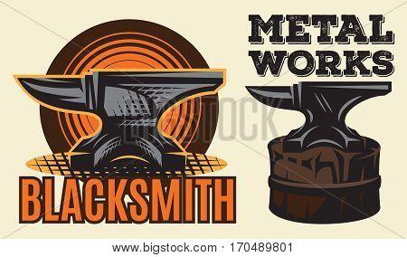 Set of vintage colored blacksmith labels with anvil. Vector illustration.