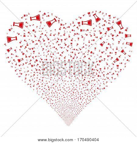 Flask fireworks with heart shape. Vector illustration style is flat red iconic symbols on a white background. Object valentine heart made from random pictographs.