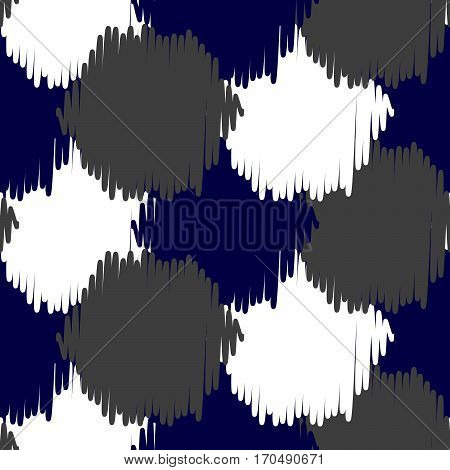 Ikat bold dots vector seamless pattern. Abstract geometric background for fabric, print or wrapping paper. Indigo blue, gray and white design.