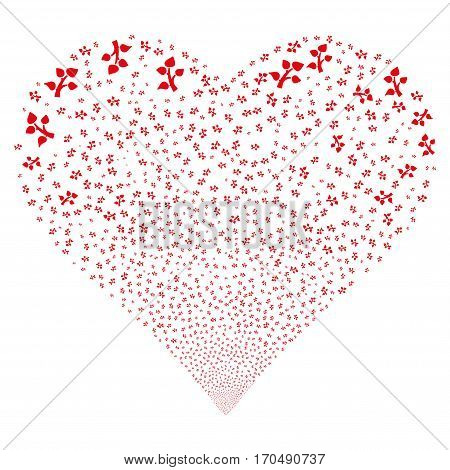Flora Plant fireworks with heart shape. Vector illustration style is flat red iconic symbols on a white background. Object stream combined from random symbols.