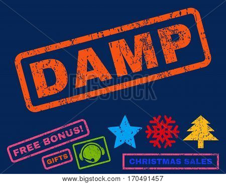 Damp text rubber seal stamp watermark with additional bonus new year symbols. Caption inside rectangular banner with grunge design and dust texture.