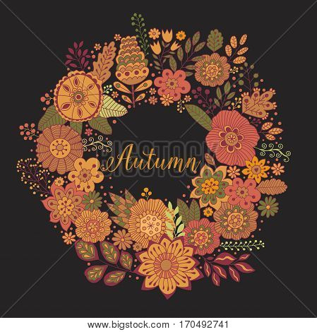 Vector circle frame, autumn wreath made of flowers. Circle decoration. Wreath illustration made of flowers and herbs. Spring elements. Floral doodles wreath.