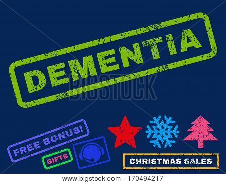 Dementia text rubber seal stamp watermark with bonus christmas symbols. Tag inside rectangular shape with grunge design and dirty texture.