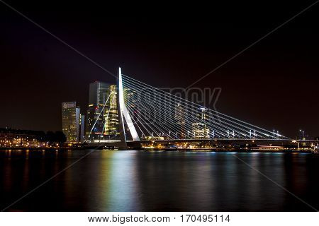 A shot of the famous bridge in Rotterdam, The Netherland