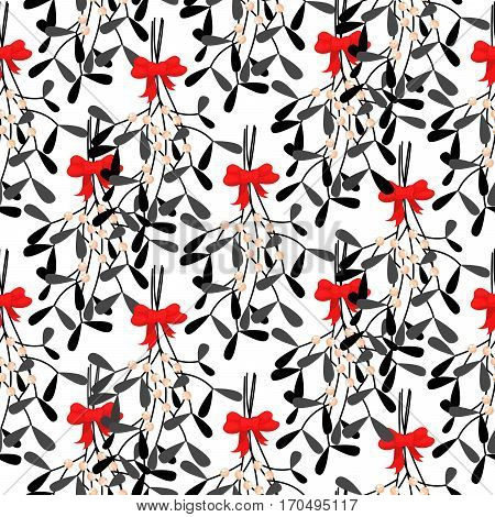 Mistletoe branches seamless vector pattern. Traditional plant tied with red bow. Black stylized leaves on white background.