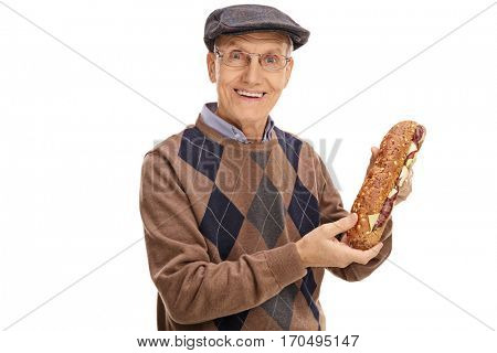 Happy senior holding a sandwich isolated on white background