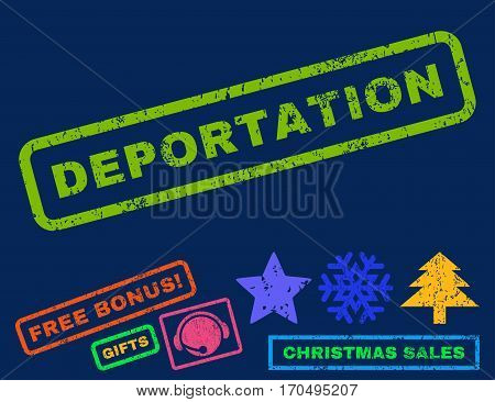 Deportation text rubber seal stamp watermark with bonus new year symbols. Tag inside rectangular shape with grunge design and scratched texture.