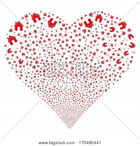 Home fireworks with heart shape. Vector illustration style is flat red iconic symbols on a white background. Object valentine heart combined from scattered pictograms.