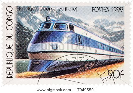 MOSCOW RUSSIA - February 11 2017: A stamp printed in Congo shows Italian electric locomotive series