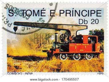 MOSCOW RUSSIA - February 10 2017: A stamp printed in Sao Tome and Principe shows picture of small red locomotive with lifting crane series