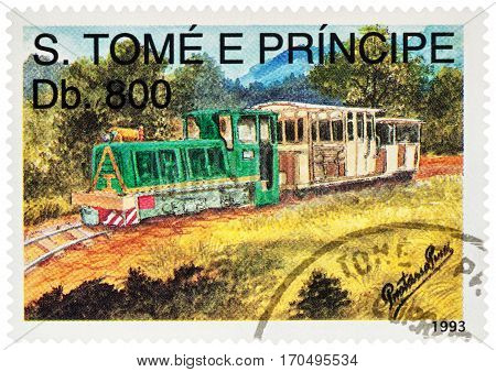 MOSCOW RUSSIA - February 08 2017: A stamp printed in Sao Tome and Principe shows picture of old small diesel locomotive and wagon series