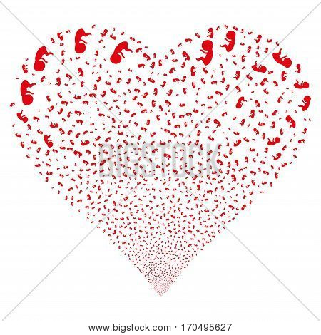 Human Embryo fireworks with heart shape. Vector illustration style is flat red iconic symbols on a white background. Object valentine heart constructed from scattered symbols.