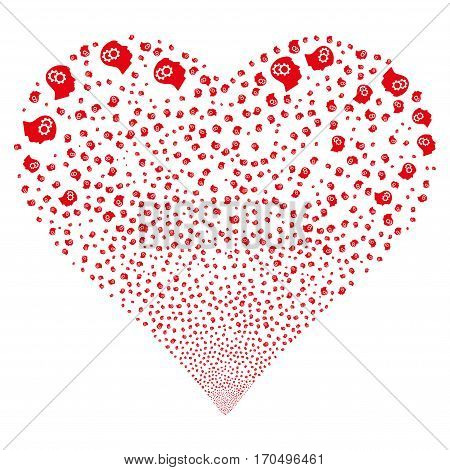 Intellect Gears fireworks with heart shape. Vector illustration style is flat red iconic symbols on a white background. Object stream organized from random symbols.
