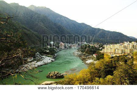 View to Ganga river India Rishikesh the world capital of yoga