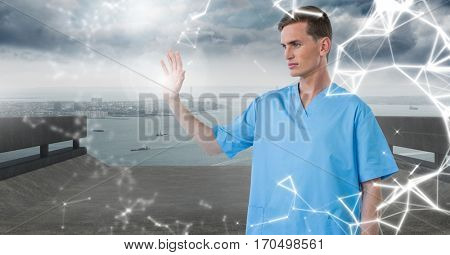 Doctor using futuristic touch screen against digitally generated background