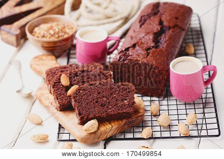 chocolate cake with almonds - sweet food