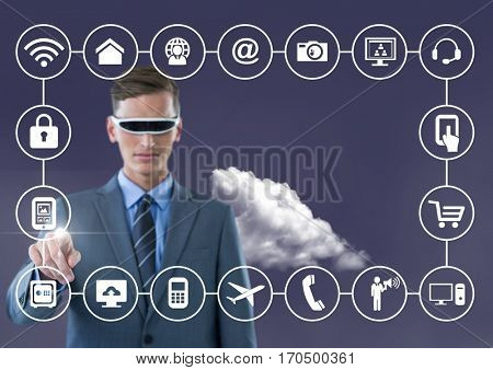 Business man with vr glasses touching digitally generated connecting icons against sky