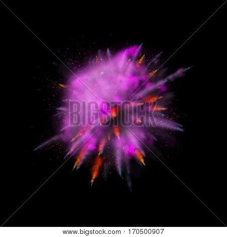 Color powder explosion background. Purple with red-orange dust paint coloured explode for Holi Festival.