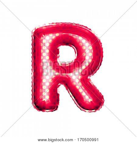 Metallic Red with Gold balloon alphabet letter crossed letter R on white background