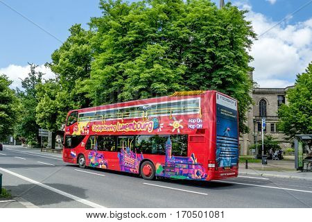LUXEMBOURG, LUXEMBOURG - JUNE19, 2016: Sightseeing bus in Luxembourg