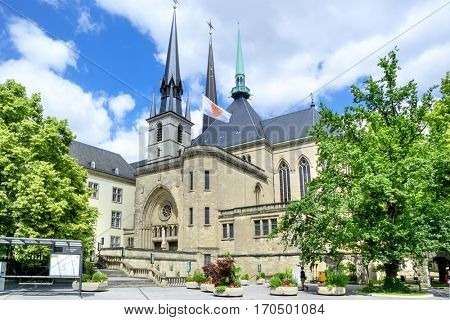 LUXEMBOURG, LUXEMBOURG - JUNE19, 2016: Notre-Dame Cathedral  in Luxembourg. Europe