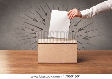 close up of a ballot box and casting vote on grungy background