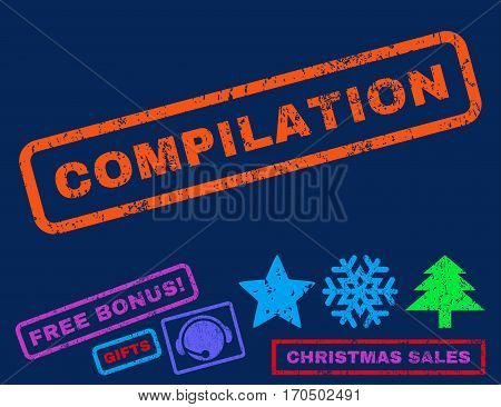 Compilation text rubber seal stamp watermark with bonus christmas symbols. Tag inside rectangular shape with grunge design and unclean texture.